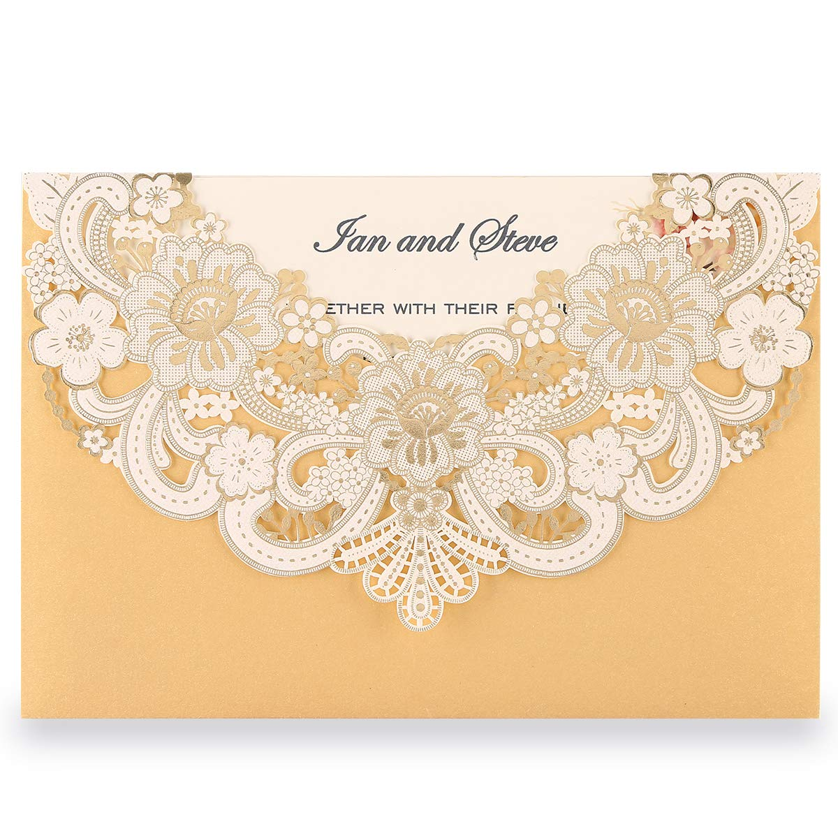 Doris Home Gold Laser Cut Flora Lace invitation cards with Blank Inner Sheets and envelopes for wedding invitations, Bridal Shower, Engagement, Birthday, Baby Shower (50) (Gold 50pcs)