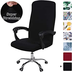 smiry Stretch Printed Computer Office Chair Covers, Soft Fit Universal Desk Rotating Chair Slipcovers, Removable Washable Anti-Dust Spandex Chair Protector Cover with Zipper (Black)