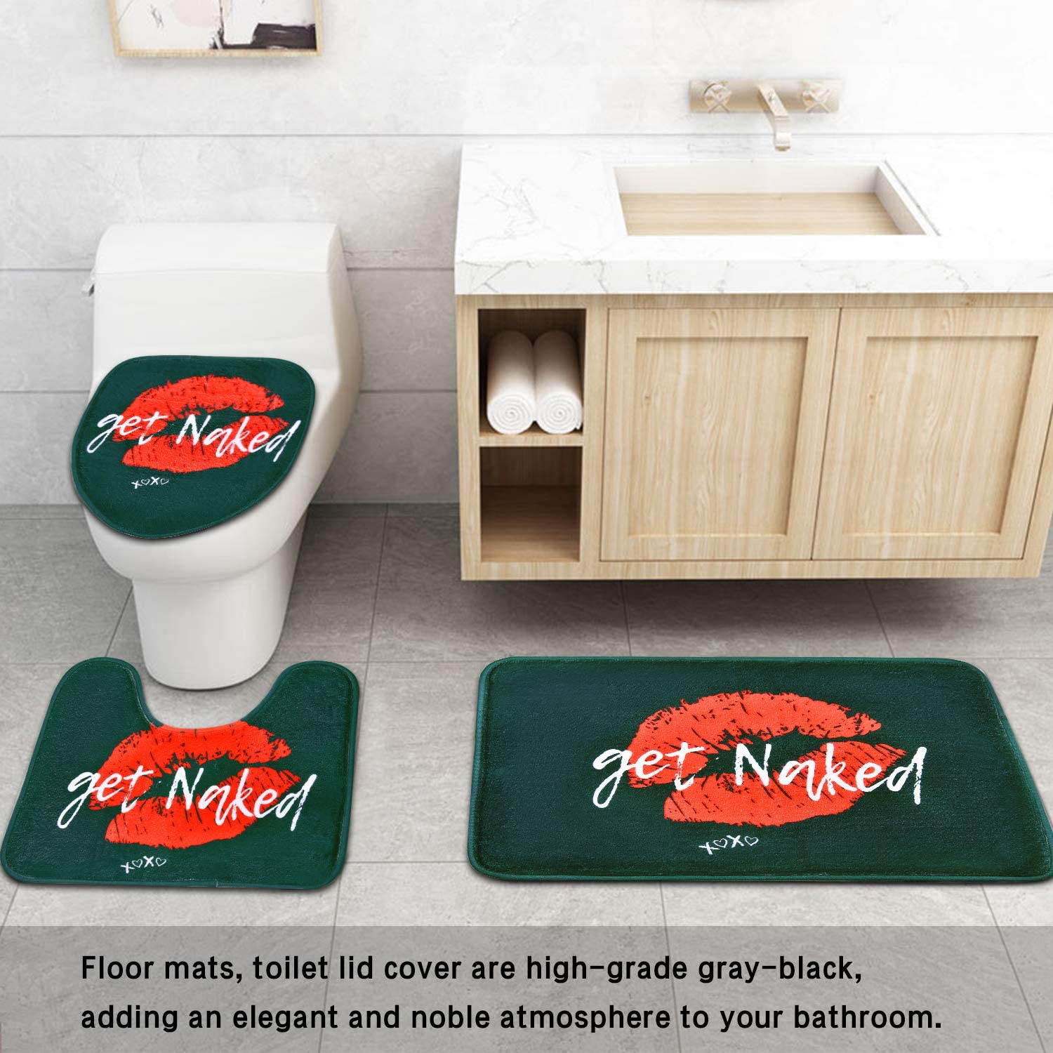 Just Get Naked Toilet Lid Cover /& Bath Mat Funny Shower Curtain Sets 4pcs