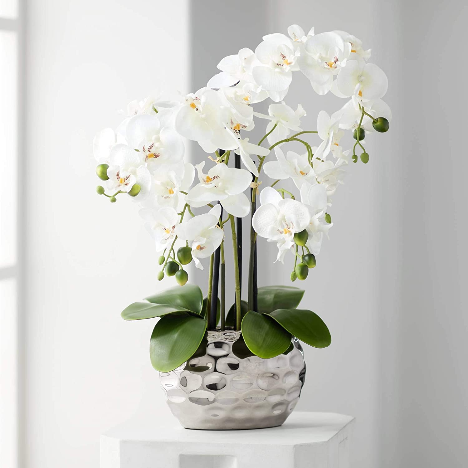 "Dahlia Studios White Phalaenopsis 23"" H Faux Orchid in Silver Ceramic Pot"