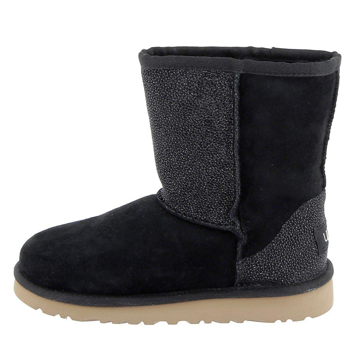 UGG Kids Classic Short Serein Boot Black Size 3 M US Little Kid