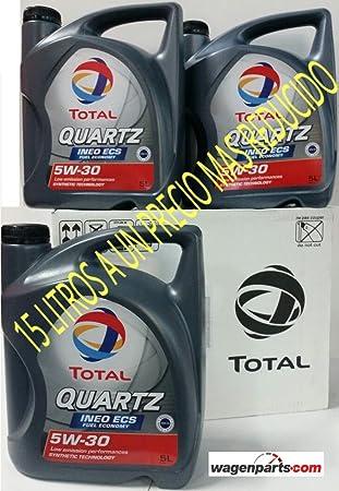 ** GRAN OFERTA * 3X Aceite de motor TOTAL QUARTZ INEO ECS 5W30 15 litros (3x5 lts): Amazon.es: Coche y moto