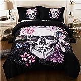 Bettbezug-Set, 3-teilig, 3D-Druck, Motiv Totenkopf mit Blumen, für Halloween, Bettbezug mit Kissenbezügen, Polyester, Schwarz , Doppelbett 200 x 200 cm