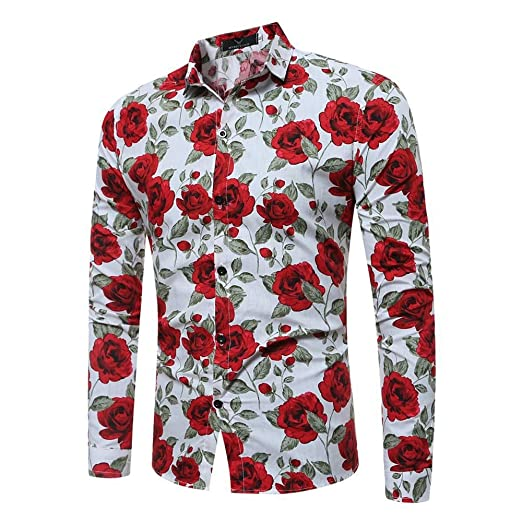 Asdflina Camisa Hawaiana Floral para Hombre Slim Fit de Manga ...