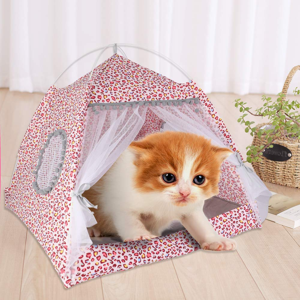 laamei Pet Bed House Pet Tent Pet Bed Dog Cat Kitten Puppy Cave Cushion Basket with Mat Foldable Medium Green