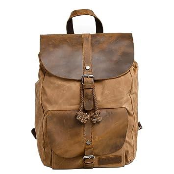 4f0c0f112fbd1 Neuleben Vintage Wasserdicht Rucksack Daypack aus Canvas Leder Damen Herren  für Reise Outdoor Schule (Braun