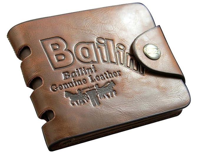 Jacentown® monedero hombres cartera patrón de agujeros diseño bolso tarjetas de cuero portamonedas bolso al mano