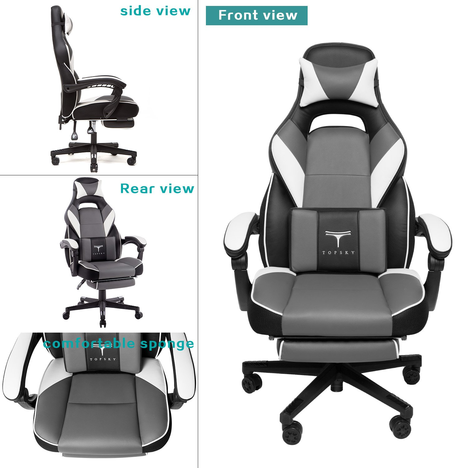 Cool Topsky High Back Racing Style Pu Leather Executive Computer Gaming Office Chair Ergonomic Reclining Design With Lumbar Cushion Footrest And Headrest Alphanode Cool Chair Designs And Ideas Alphanodeonline
