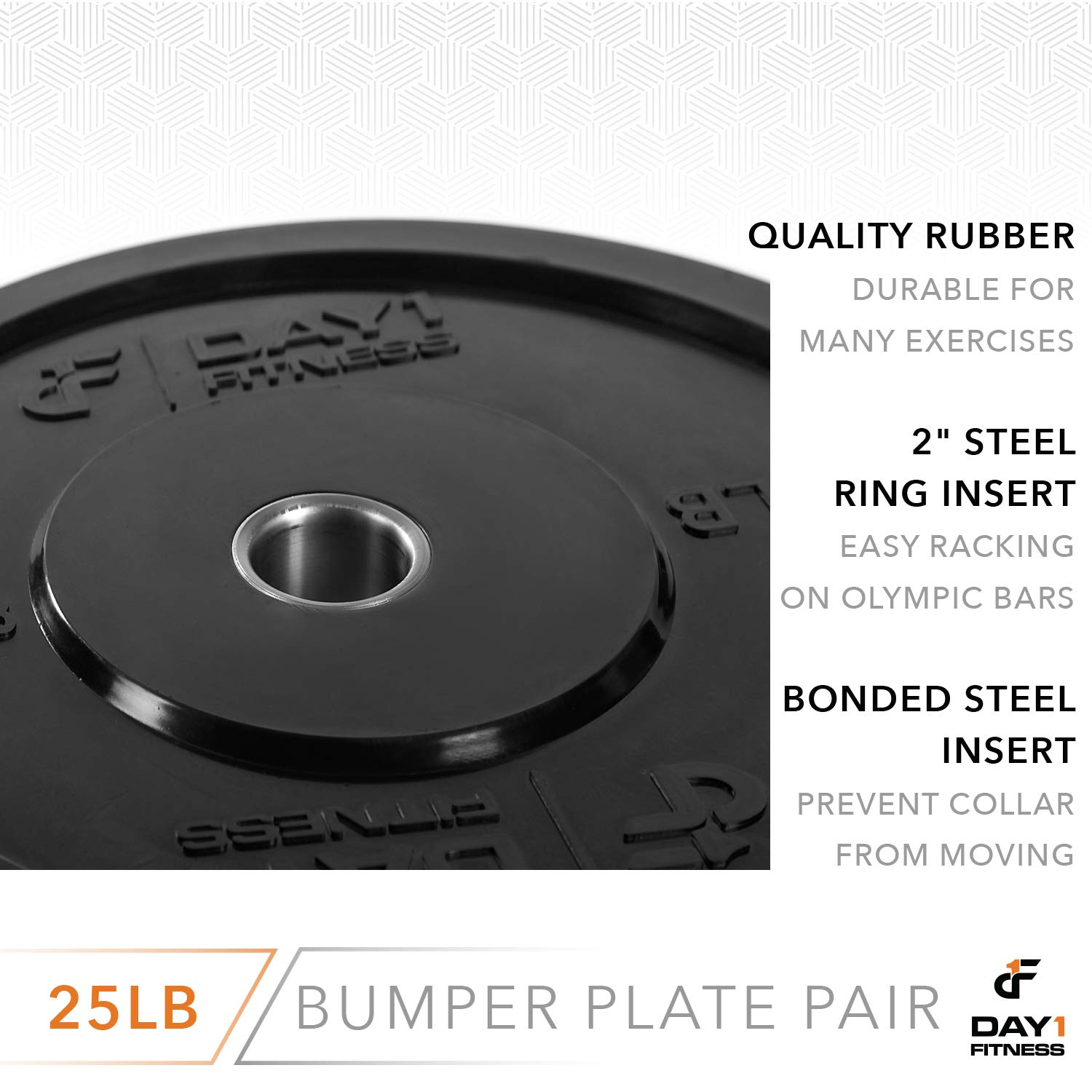 "Day 1 Fitness Olympic Bumper Weighted Plate 2"" for Barbells, Bars – 25 lb Set of 2 Plates - Shock-Absorbing, Minimal Bounce Steel Weights with Bumpers for Lifting, Strength Training, and Working Out by Day 1 Fitness (Image #5)"