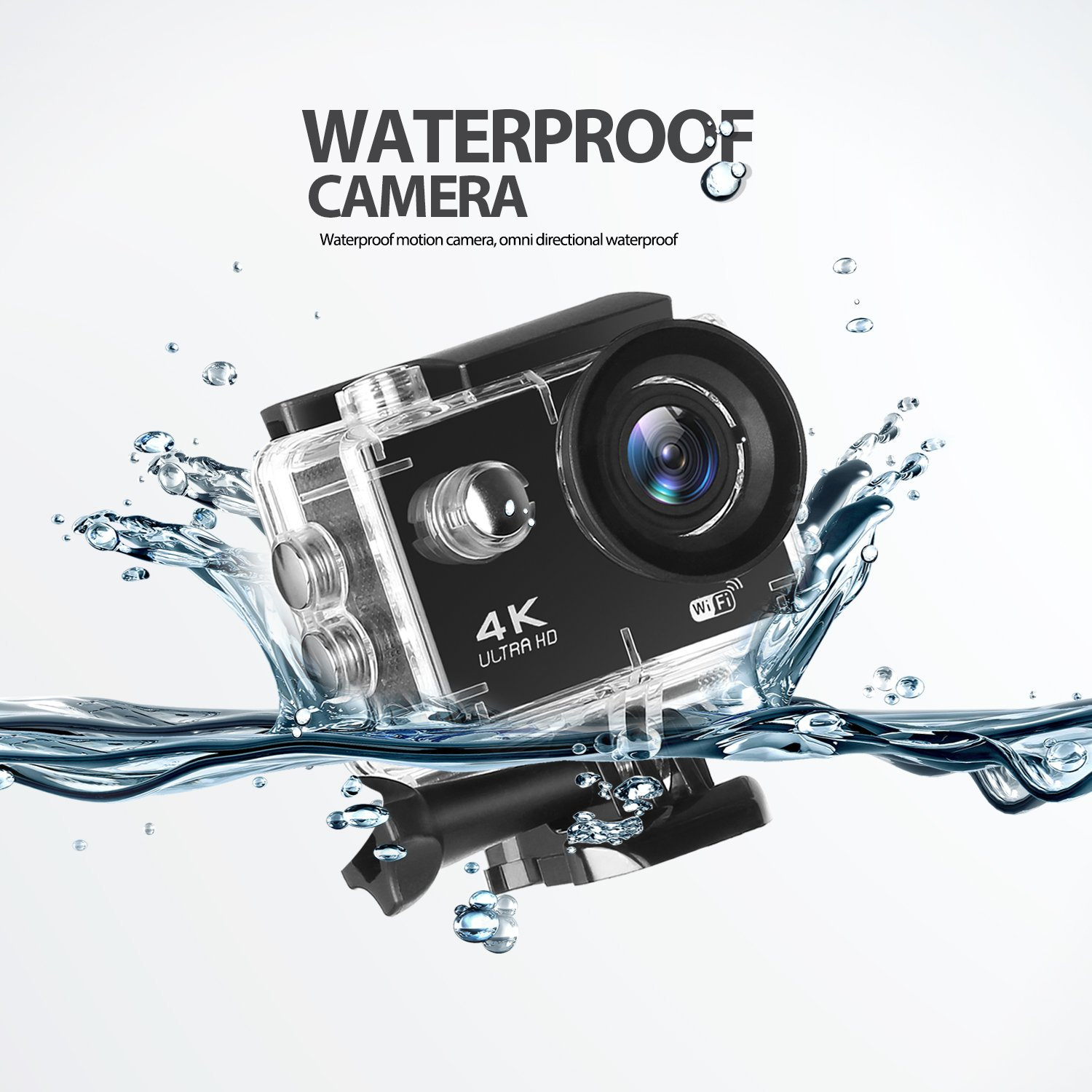 Action Camera,Auto Beyond 4K WIFI Anti-Shake Sports Action Camera Ultra HD 16MP/ 2 Inch LCD Screen/ 30m Underwater/ 170°Wide-Angle and EIS Sports Action Camera/ 2 Rechargeable Batteries/ Mounting Accessory Kits/ Portable Case-(Black) autobeyond