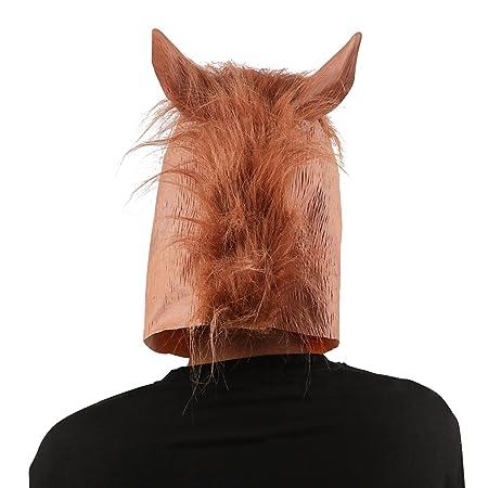 XIAO MO GU Máscara de la Cabeza de Animal Caballo, Máscara del Látex de la Decoración de Disfraces de Halloween para los Adultos y Niños - Marrón: ...