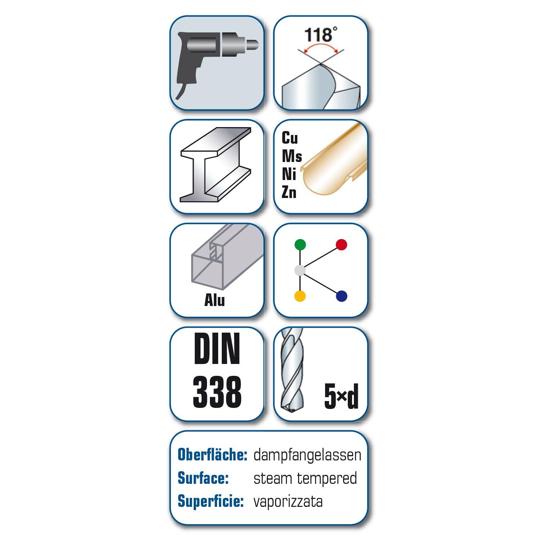 DIN 338 RN alpen 61401050100 HSS Sprint Spiralbohrer kurz /∅ 10,5 mm 10.5 mm L1 133 mm L2 87 mm