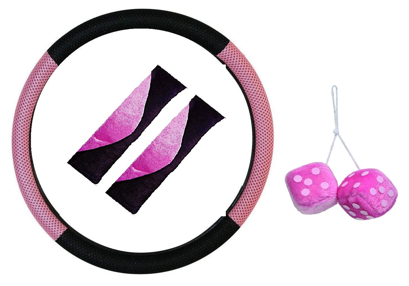 XtremeAuto® XA_pinkstylesets Pink Steering Wheel Cover And Soft Seat Belt Pads, Car Interior Styling Set. (Set 1) XtremeAuto®