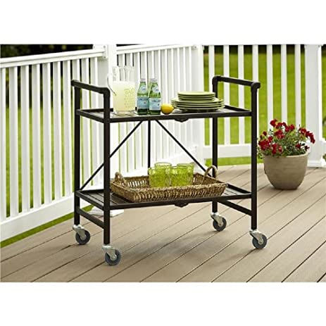 Amazon.com - Serving Cart for Dining Room Outdoor Folding Rolling ...