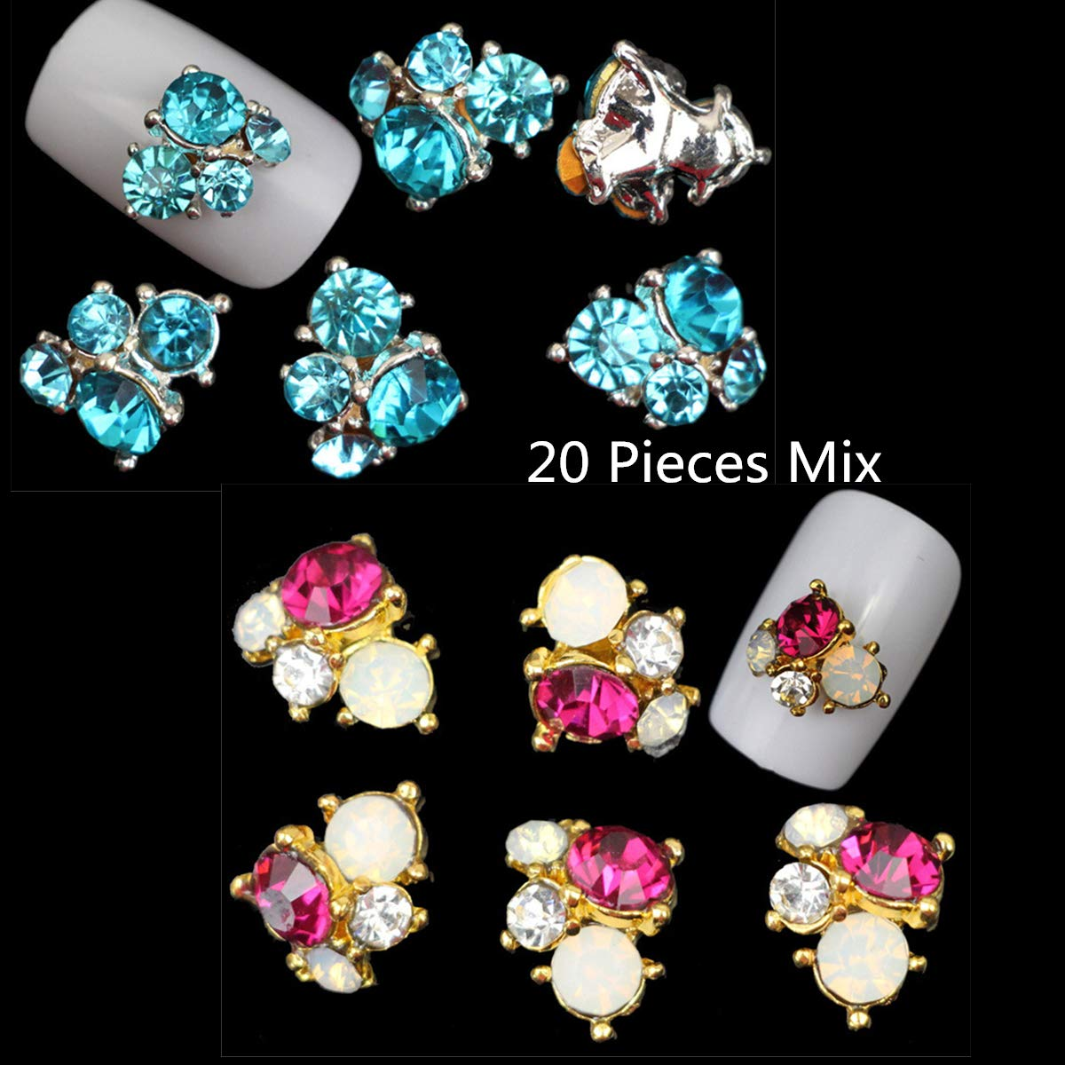 Mezerdoo 20Pcs Mix 3D Charms Glass Crystal Diamonds Nail Art Design Stone Decorations Strass Jewelry DIY Nail Art Rhinestones Flower Nail Decoration Gems Sticker
