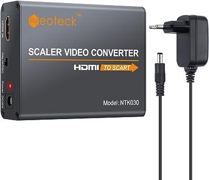 Neoteck HDMI a Euroconector Convertidor 1080P HDMI a Scart Adaptador Compuesta HD Vídeo Estéreo Audio Adaptador