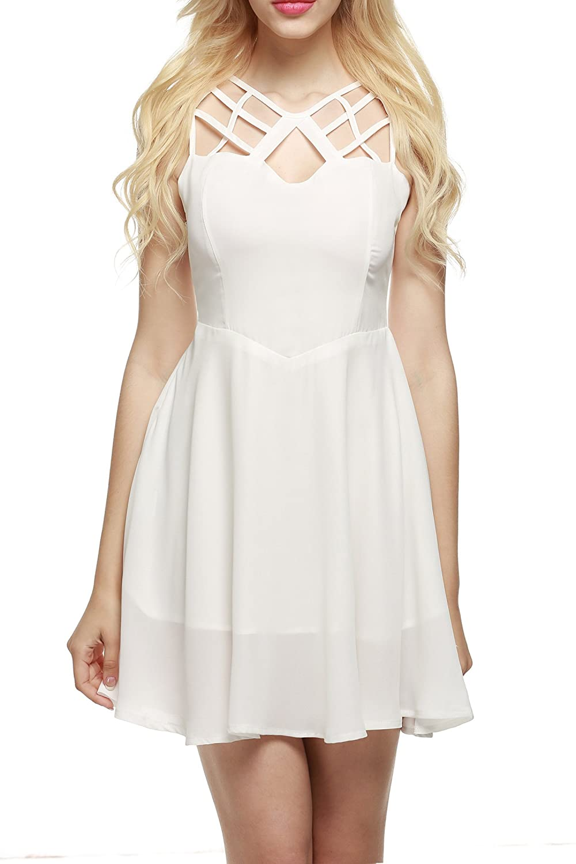 Zeagoo Damen A-Linie Kleid Chiffonkleid Brautjungfernkleid Bandage Kleid Ausgestelltes Skaterkleid Partykleid Ärmellos