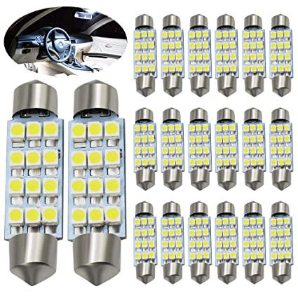 Automobiles & Motorcycles 10pcs White Great Car Dome 12 3528-smd Led Bulb Light Interior Festoon Lamp 41mm