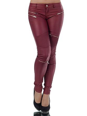 a74fb5344 Fashion BOUTIK Pantalon huilé Simili Cuir Bordeaux zippé Femme Sexy ...
