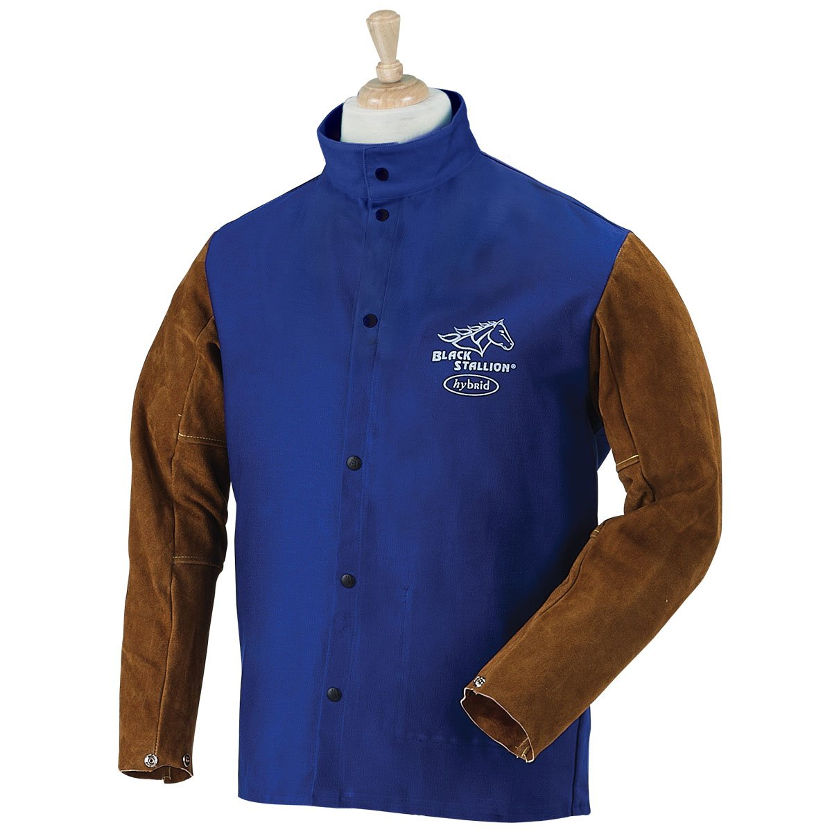BLACK STALLION Hybrid 9 oz. FR and Cowhide Welding Coat - 30'' Royal Blue/Brown - (Medium) by Revco