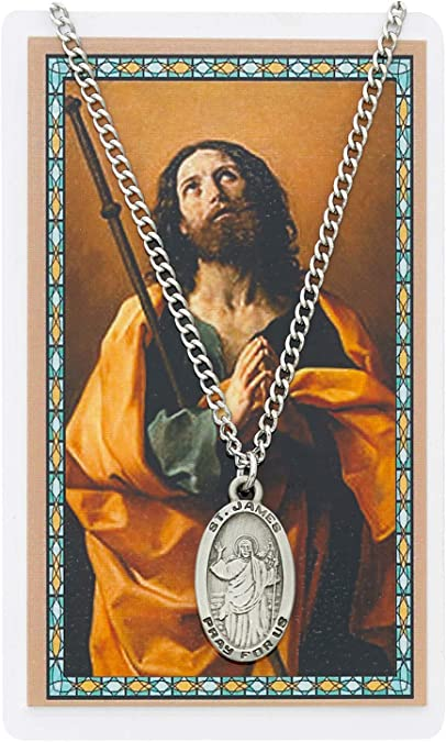 Chain /& Prayer Card Pewter Medal and Stainless Steel Chain St James Medal