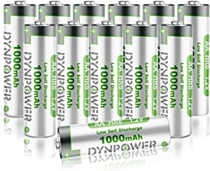 12PCS NiMH AA 1000mAh Rechargeable Batteries for Solar Garden Lights, Dynpower Pre-Charged Double A High Performance Wide Temperature Range for String Lights, TV Remotes, Wireless Mouses, Flashlight