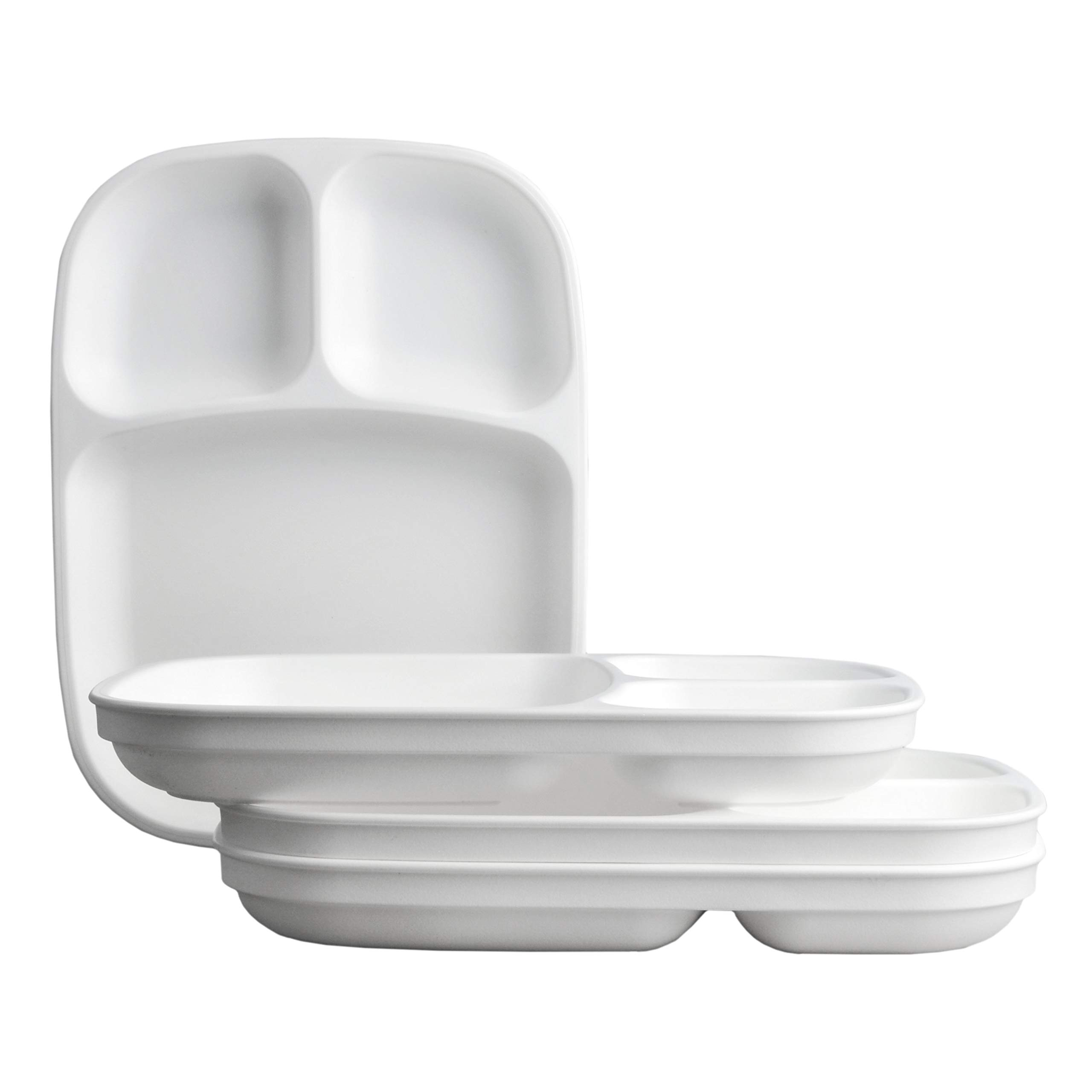 Re-Play Made in USA 4pk White Large Sandwich Divided Plates with Deep Sides and Three Compartments Great for Outdoor, Camping, Party, Tailgating or Everyday Dining by Re-Play