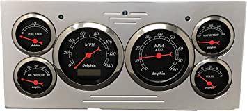 Dolphin Gauges Compatible with 1973 1974 1975 1976 1977 1978 1979 Ford Truck 6 Gauge Dash Cluster Panel Set Mechanical White
