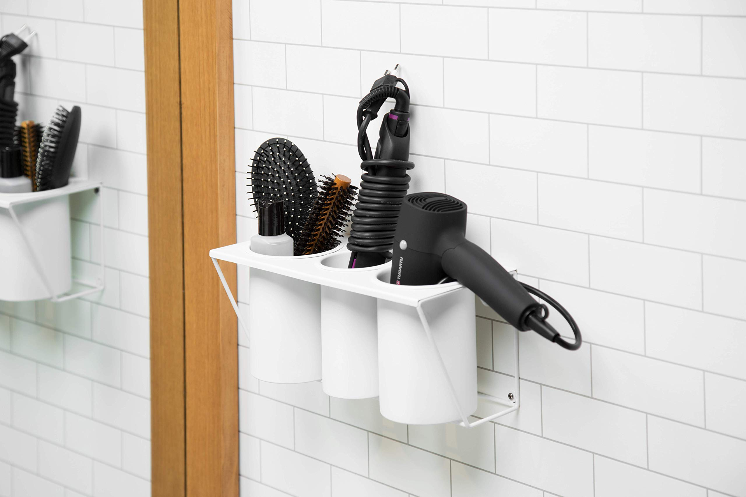 JackCubeDesign Hair Dryer Holder Hair Styling Product Care Tool Organizer Bath Supplies Accessories Tray Stand Storage Bathroom Steel Hair Dryer Holder(White) MK470A