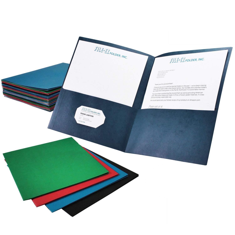 FILE-EZ Two-Pocket Folders, Assorted Colors, 25-Pack, Textured Paper, Letter Size (EZ-32500)