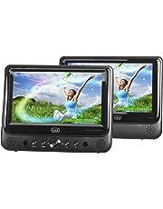 Trevi TW 7005 Lettore DVD Portatile per Auto, Due Display da 9 Pollici, USB, SD, Presa Accendisigari 12V con Cavo in Dotazione, Batteria Ricaricabile al Lithio, Due Staffe Poggiatesta