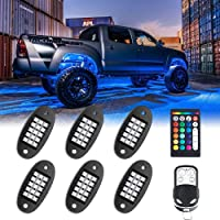 MustWin RGB LED Rock Lights, 90 LEDs Multicolor Neon Underglow Waterproof Music Lighting Kit with APP & RF Control for…