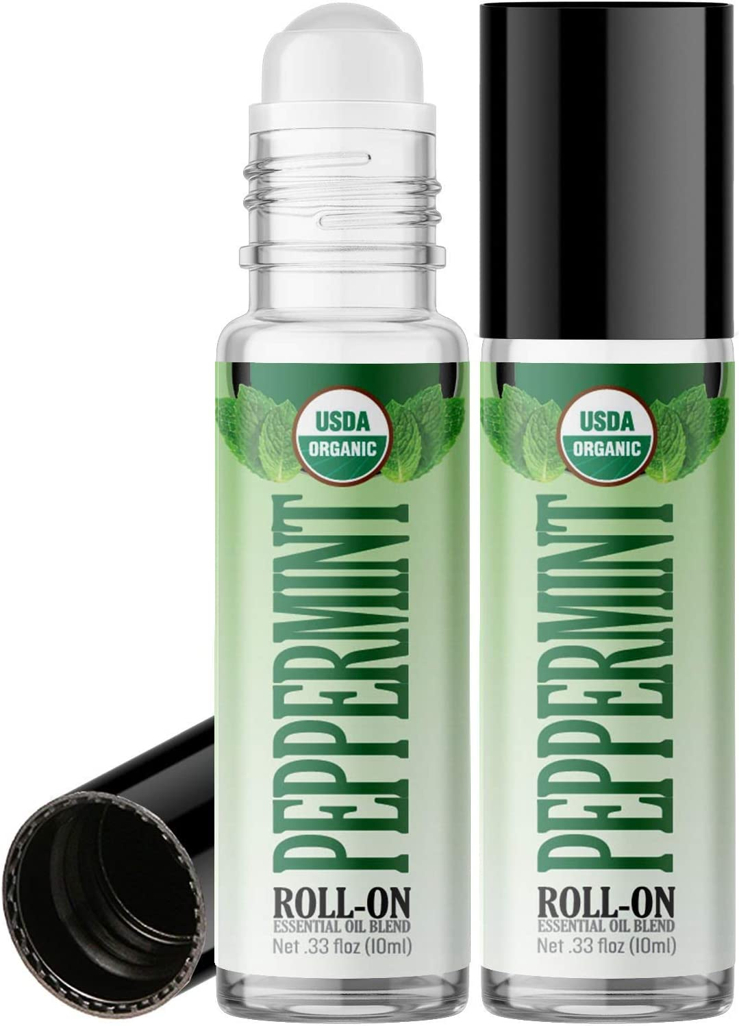Amazon Com Organic Peppermint Roll On Essential Oil Rollerball 2 Pack Usda Certified Organic Pre Diluted With Glass Roller Ball For Aromatherapy Kids Children Adults Topical Skin Application 10ml Bottle Health