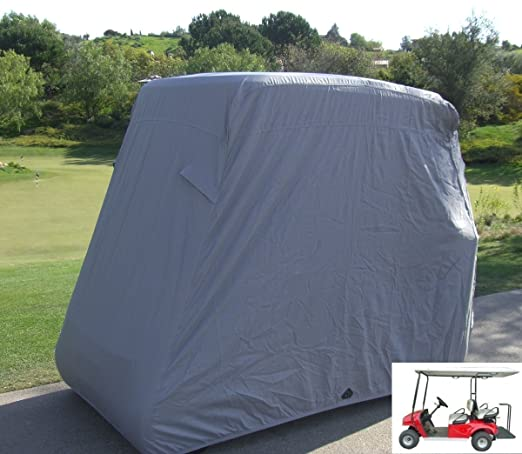 "Review Deluxe 4 Passenger Golf Cart Cover roof 80""L (Grey, Taupe, or Green), Fits E Z GO, Club Car and Yamaha G model - Fits GEM e2"