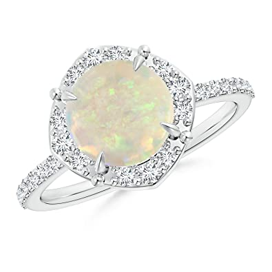 Angara Claw Set Opal and Diamond Halo Cathedral Ring in Yellow Gold psbLn
