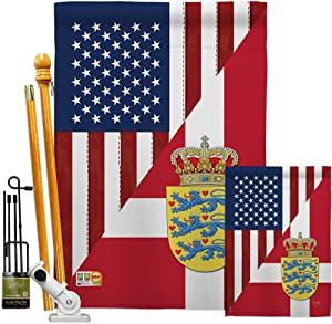 US Friendship Denmark Garden House Flags Kit Regional USA American Alliance World Country Particular Area Small Decorative Gift Yard Banner Made in 28 X 40