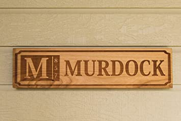 Qualtry Personalized Engraved Wedding Gifts Wooden Family Name Signs 5x20 Murdock Design Cherry Wood Type Light Red