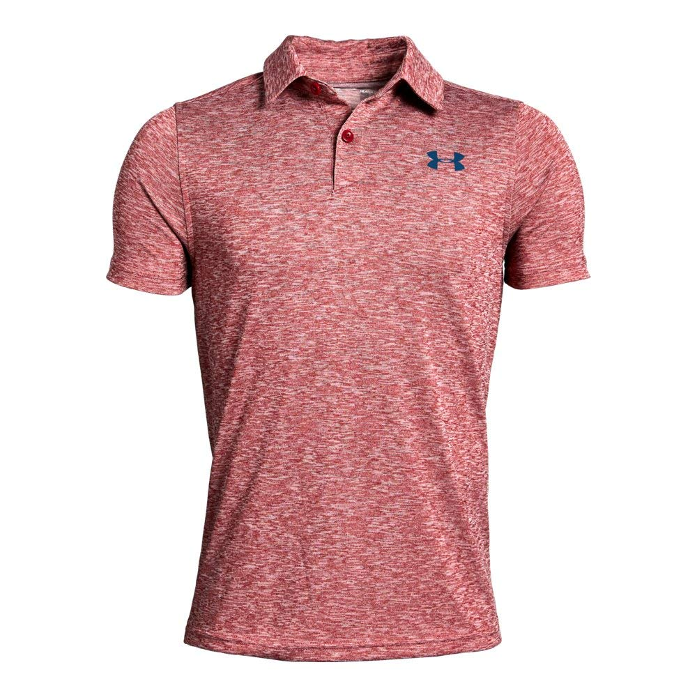 Under Armour Tour Tips Polo, Aruba Red Light Heather//Petrol B, Youth Medium by Under Armour