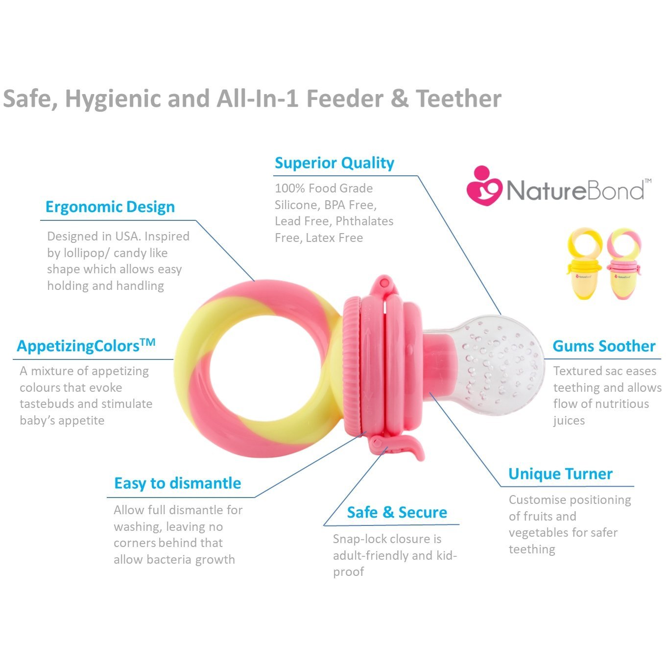 Naturebond Baby Food Feeder Fruit Pacifier 2 Black Box Stage Diagram Theater Feiderdesign Pack Infant Teething Toy Teether In Appetite Stimulating Colors Bonus Includes All