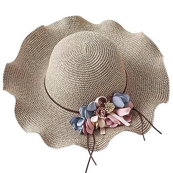 JasmineLi New Sun Hat Summer Women Flower Straw Wave Brim Big Brim Visor Hat  UV Protection Seaside Holiday Beach Cap  Amazon.co.uk  Sports   Outdoors 8e3df45fc13c