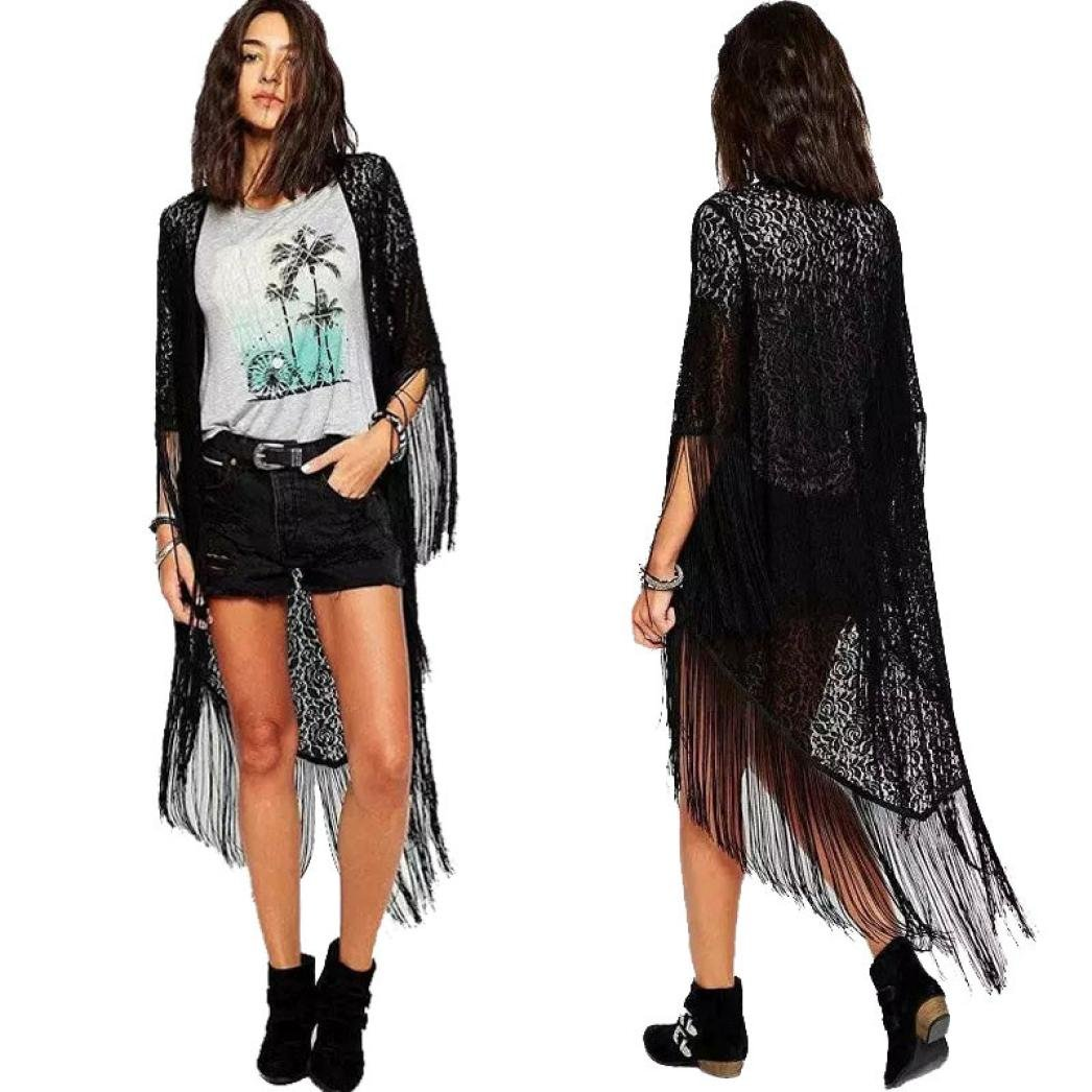 Gillberry Women Lace Hollow Floral Tassel Kimono Shawl Cardigan Blouse Coat Tops WY56764