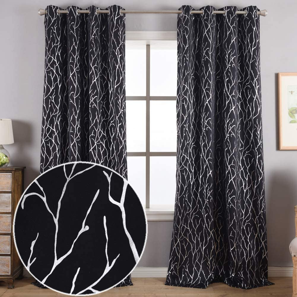 Kotile Tree Curtains for Bedroom - Silver Foil Tree Branch Print Blackout Curtains Thermal Insulated Tree Window Curtains 63 inch Length Grommet Black Curtains Tree Pattern, 52 x 63 Inches, 2 Panels