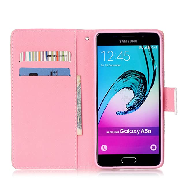 Dooki Portemonnaie Flip PU Cuir Housse Coque Étui Etui pour Samsung Galaxy A5 2016 Avec Carte Tenant Fente Supporter Galaxy A5 2016 Coque A-6