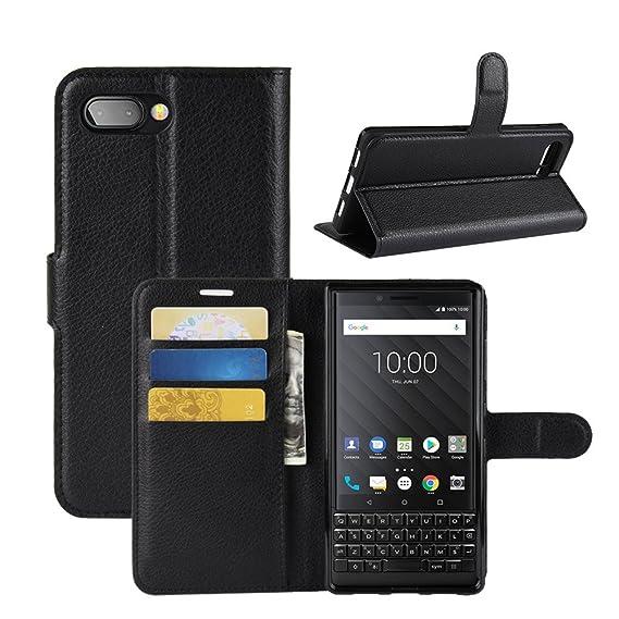 buy online 84d38 e0520 BlackBerry KEY2 Case, AVIDET PU Leather Wallet Flip Case Cover With Stand  Function for BlackBerry KEY2 (Black)