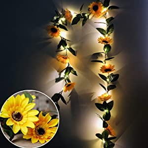 Fielegen 20 LED Sunflower String Lights with Timer, Artificial Sunflower Garland Vines with Lights Battery Powered Sunflower Fairy String Lights for Indoor Bedroom Wedding Home Garden Decoration