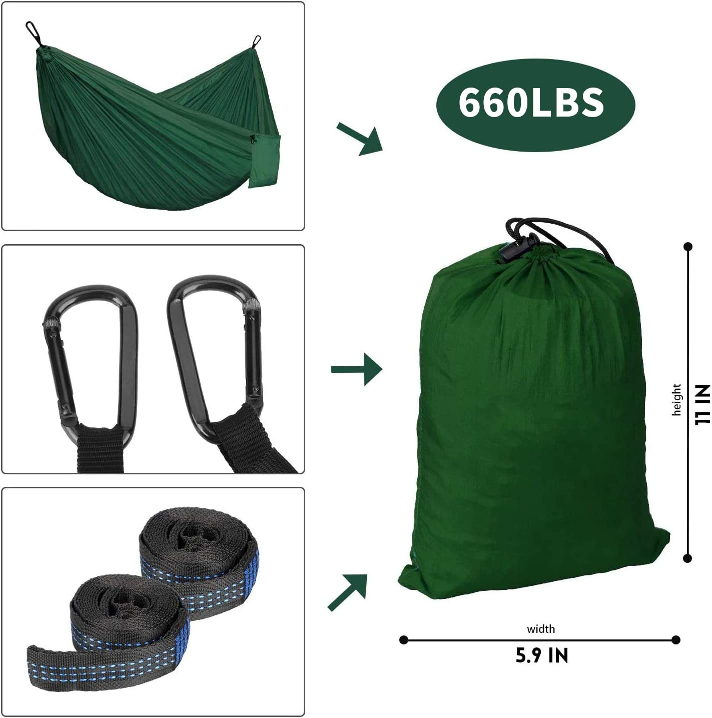 Backyard KEPEAK Camping Hammock Double /& Single Portable Hammocks with Tree Straps Lightweight Nylon Parachute for Indoor Outdoor Backpacking Survival Patio Travel
