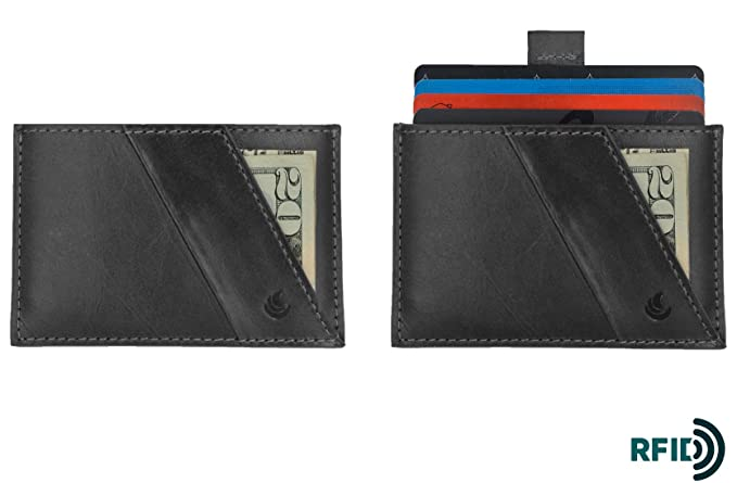 Slim RFID blocking minimalist leather front pocket flat wallet for men and women by bluesun (Black) at Amazon Mens Clothing store: