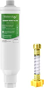 Waterdrop Garden Hose Water Filter with Hose Protector, NSF Certified, Compatible with Mist Cooling System, Reduces Chlorine, bad taste and odor for Gardening, Farming and Pets