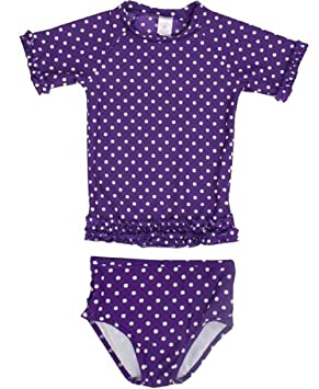 3b2e5b007942c RuffleButts ラッフルバッツ UPF50+ ラッシュガード Grape Polka Dot Ruffled Rash Guard  Bikini (18-