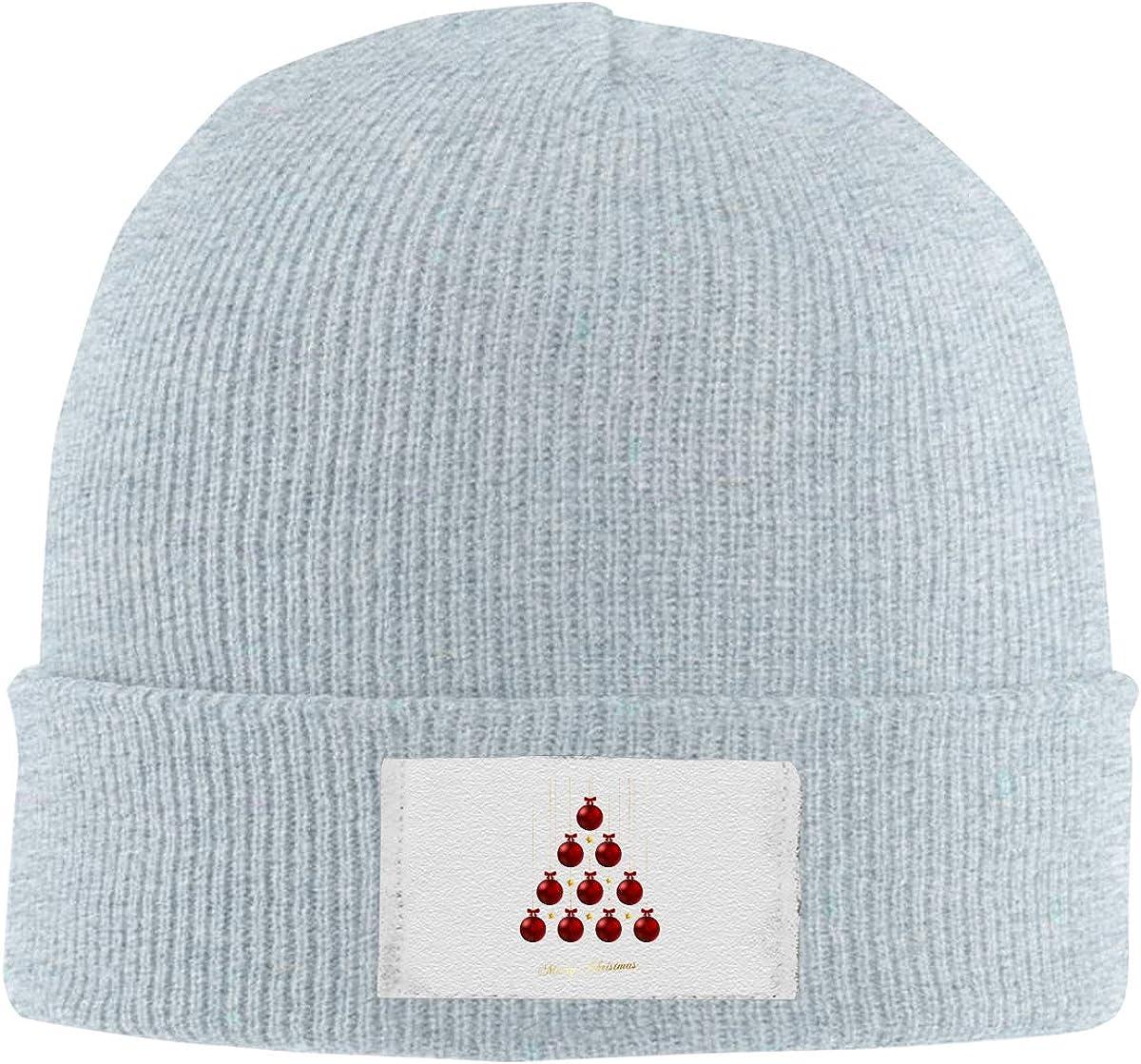Stretchy Cuff Beanie Hat Black Skull Caps Merry Chrismas Ball Winter Warm Knit Hats